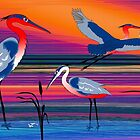 3 Red Herons by Graham Colton