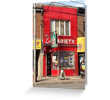 Parkdale Toronto Lee's Variety Convenient neighbourhood neighborhood heritage building store 'The Red Store' Greeting Card