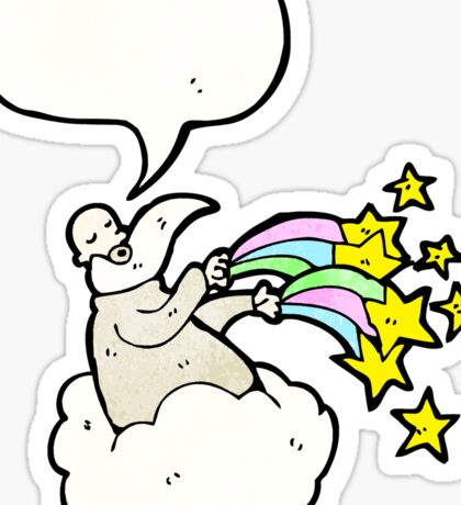 god on cloud cartoon Sticker