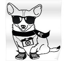 Hipster Corgi - Cute Dog Cartoon Character - Corgis Rule Poster