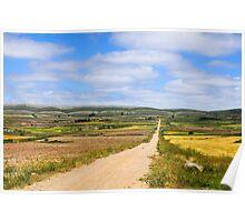limestone strata, Maestrazgo, Aragon, Spain Poster