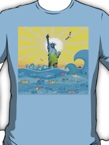 Cool Colorful New York Statue of Liberty and Fish T-Shirt