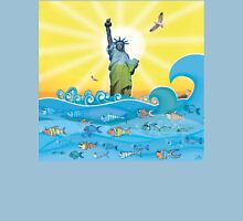 Cool Colorful New York Statue of Liberty and Fish Unisex T-Shirt