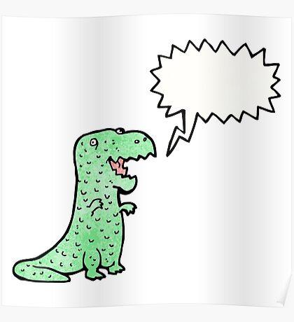 friendly dinosaur cartoon Poster