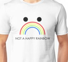 Not A Happy Rainbow Black Unisex T-Shirt
