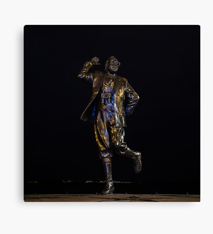 Eric Morecambe statue by night Canvas Print