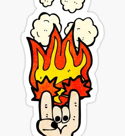 rock devil horns hand symbol Sticker