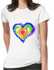 Rainbow Heart from brush strokes Womens Fitted T-Shirt