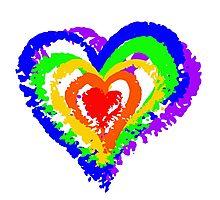 Rainbow Heart from brush strokes Photographic Print