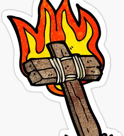 cartoon burning cross Sticker