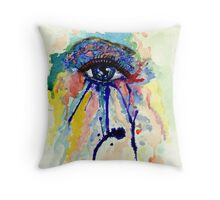 Watercolor Eye with splashing effect Throw Pillow
