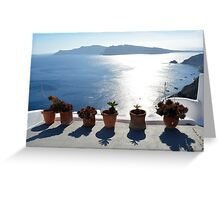 Flower pots with cactus in Santorini, Greece Greeting Card