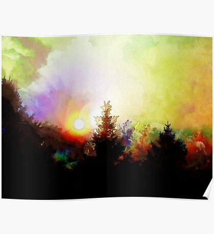 Sunrise In The Forest Poster