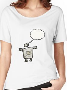 cartoon robot with thought bubble Women's Relaxed Fit T-Shirt