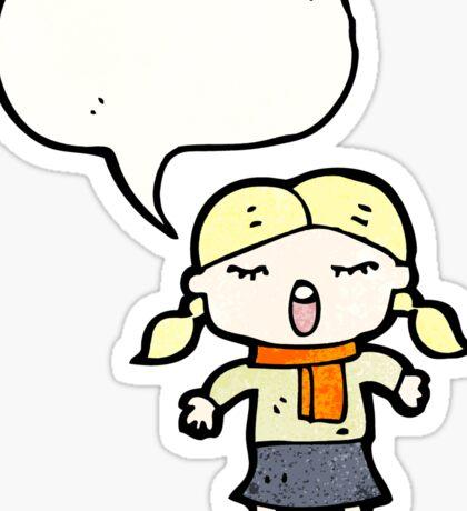 cartoon singing girl Sticker