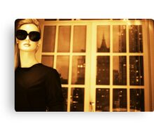 Portrait of female shop dummy store fashion mannequin sepia black and white film silver gelatin analog photo Canvas Print