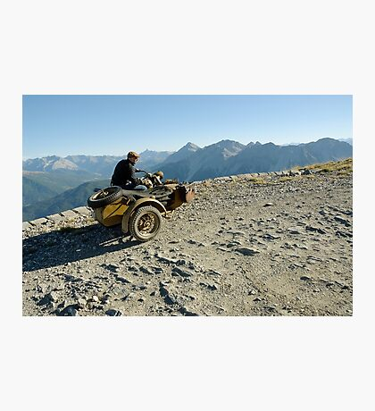 BMW R75 on the track to the top of Monte Jafferau Photographic Print