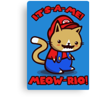 It's-a-me! Meow-rio! (Text ver.) Canvas Print