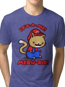 It's-a-me! Meow-rio! (Text ver.) Tri-blend T-Shirt