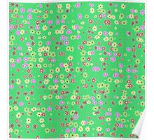 Flowers on green background Poster