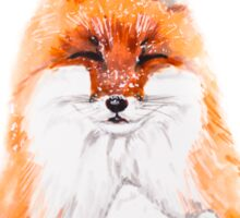 Fox - illustration of red fox in snow, portrait. Marker drawing. Sticker