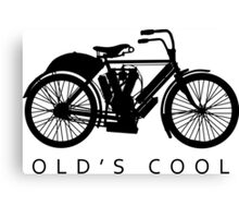 Old's Cool - Vintage Motorcycle Silhouette (Black) Canvas Print