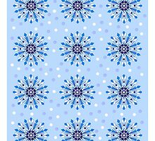 Blue snowflakes and dots by walstraasart