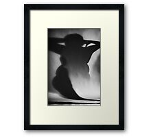 Surrealist silhouette of fat woman black and white film silver gelatin analog photographic studio portrait photo Framed Print