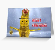 Glowing Snowman at Christmas Greeting Card