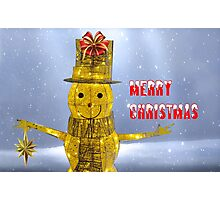 Glowing Snowman at Christmas Photographic Print