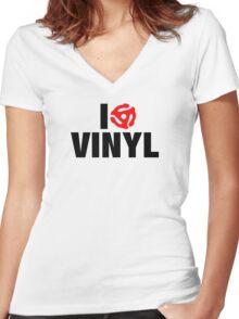 I Spin Vinyl Women's Fitted V-Neck T-Shirt