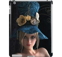 Steampunk girl wearing a blue hat iPad Case/Skin