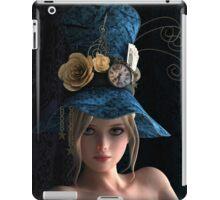 Steampunk girl wearing a blue hat iPad Case/Skin