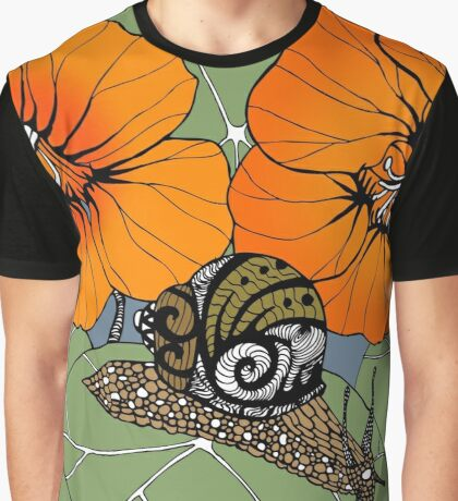 Snail with Nasturtiums Graphic T-Shirt