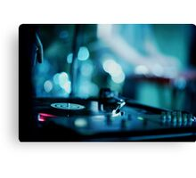 House music dj deejay turntable in nightclub party in Ibiza Spain blue digital photograph Canvas Print