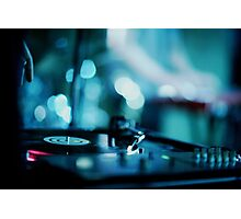 House music dj deejay turntable in nightclub party in Ibiza Spain blue digital photograph Photographic Print