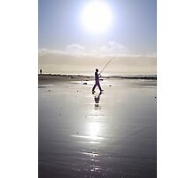 lone fisherman fishing on the sunny Kerry beach Photographic Print