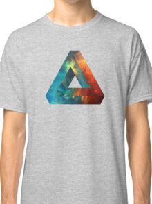 Abstract Geometry: Penrose Nebula (Fire Red/Orange/Blue) Classic T-Shirt