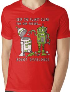 Robot Earth Mens V-Neck T-Shirt