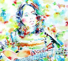 JOAN BAEZ playing - watercolor portrait by lautir