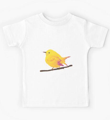 Yellow Cartoon Bird in Peach Background Kids Tee