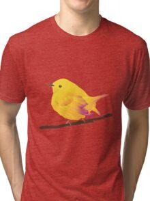 Yellow Cartoon Bird in Peach Background Tri-blend T-Shirt