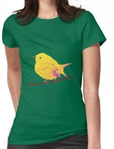 Yellow Cartoon Bird in Peach Background Womens Fitted T-Shirt