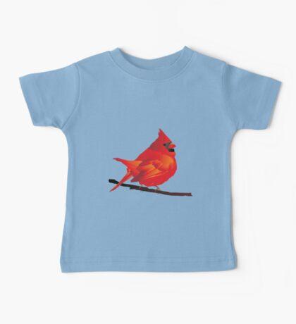 Orange Red Cartoon Bird in White Background Baby Tee