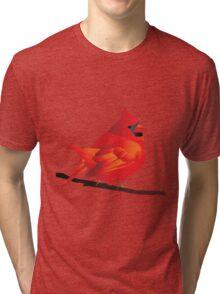 Orange Red Cartoon Bird in White Background Tri-blend T-Shirt