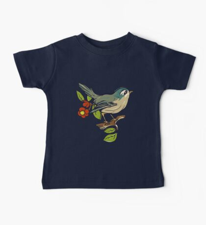 Bird On A Branch With Beige Background Baby Tee
