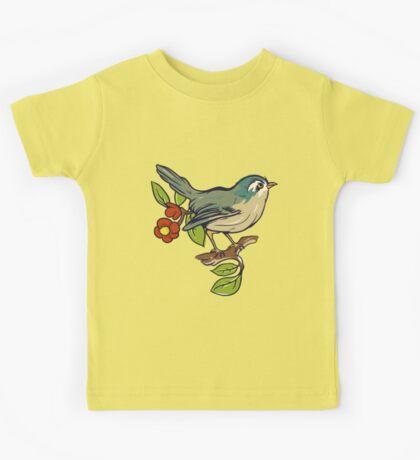 Bird On A Branch With Beige Background Kids Tee