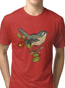 Bird On A Branch With Beige Background Tri-blend T-Shirt
