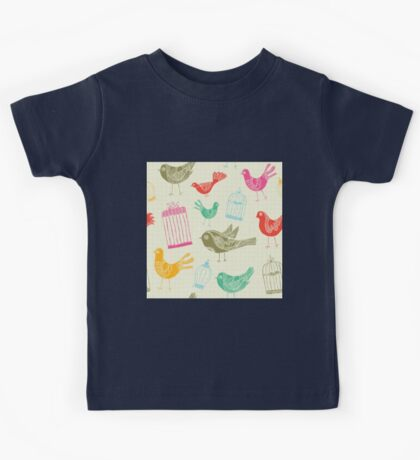 Vintage Retro Birds And Cage Kids Tee