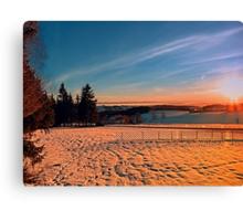 Colorful winter wonderland sundown IV   landscape photography Canvas Print